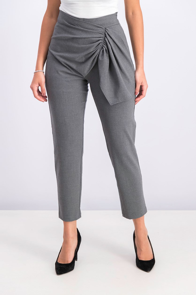 Women's Straight Pull On Pants, Charcoal