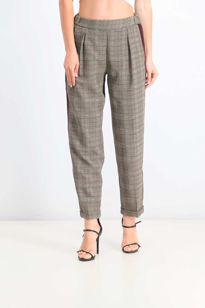 Women's Plaid Pants, Black/Maroon/Beige