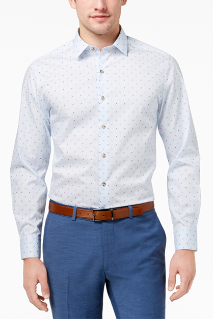 Men's Floral Button Up Dress Shirt, Blue