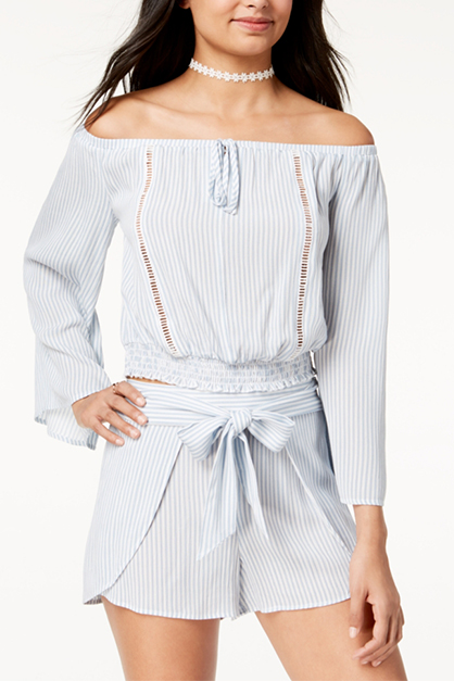 Women's Striped Off-The-Shoulder Crop Top, Blue