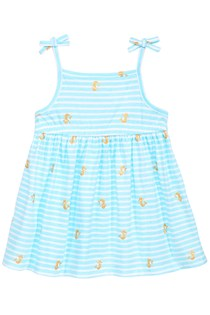 Toddlers Girl's Printed Cotton Sundress, Blue/White