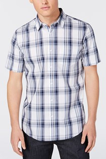 Men's Cabin Plaid Flannel Shirt, Crisp Navy