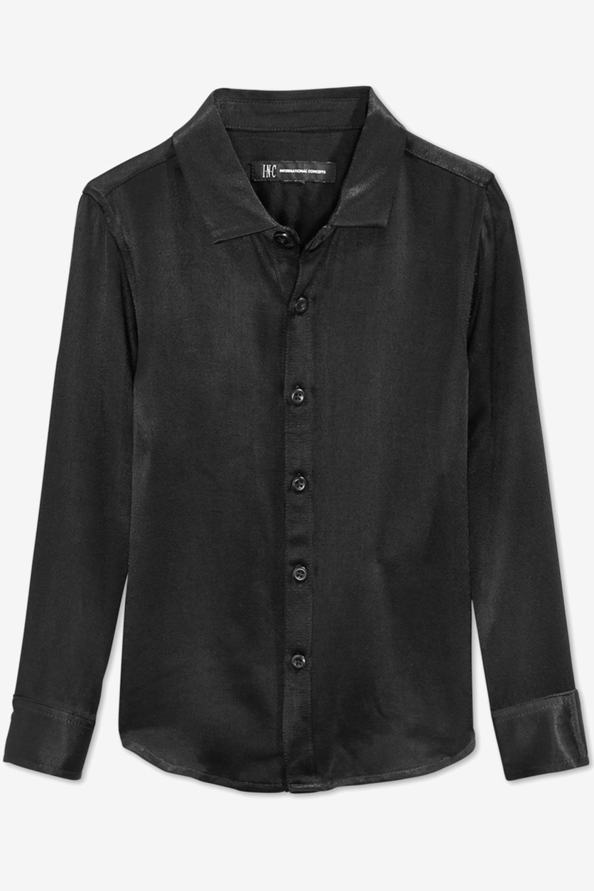 Toddler Boys' Match-To-Dad Satin Shirt, Black