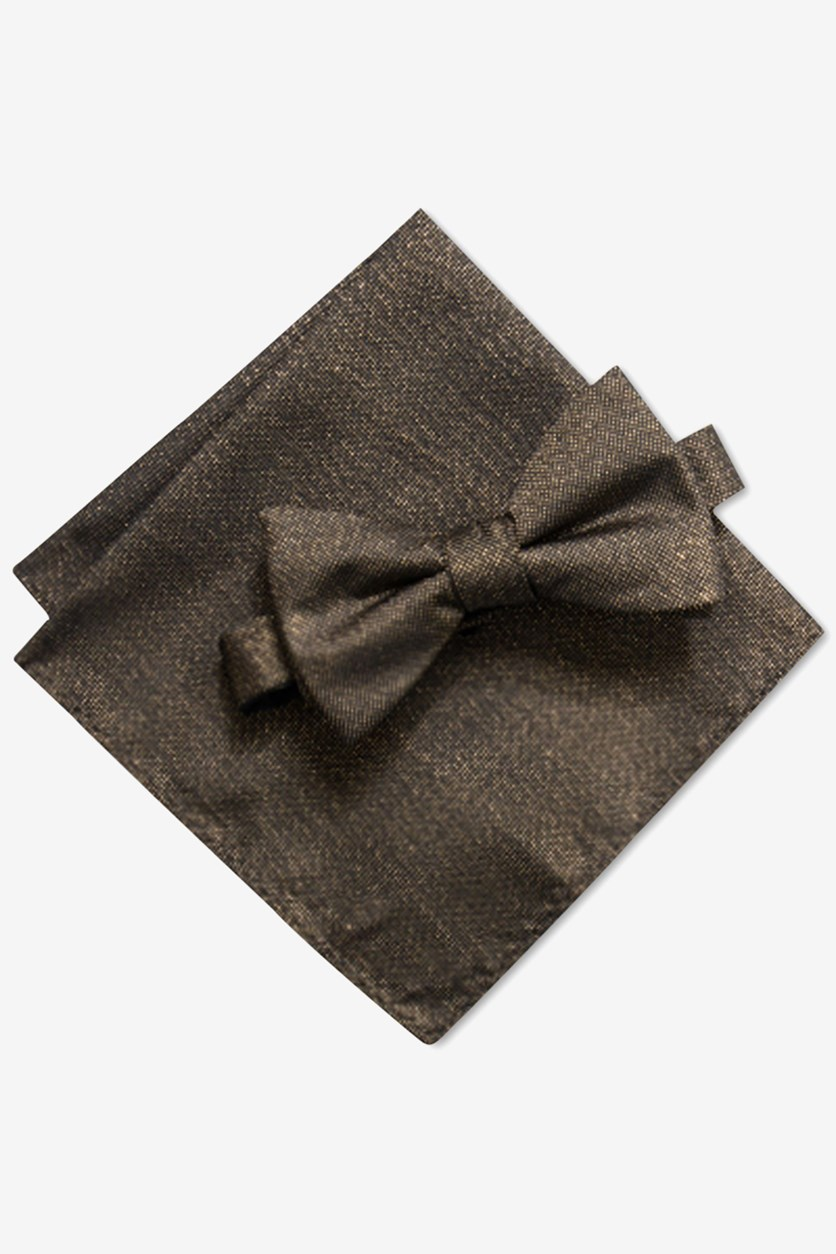 Men's Solid Pre-Tied Bow Tie & Solid Pocket Square Set, Gold/Black