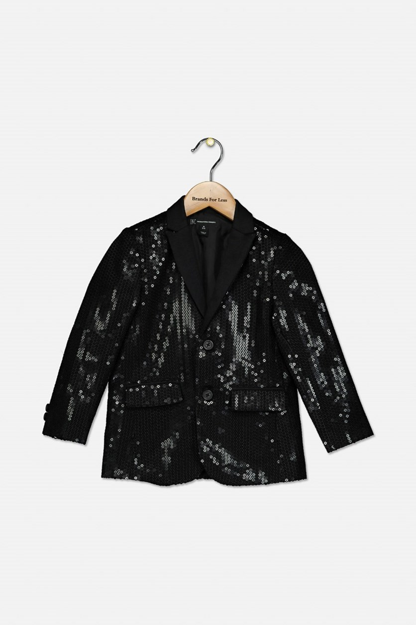 Little Boy's Sequined Blazer, Black