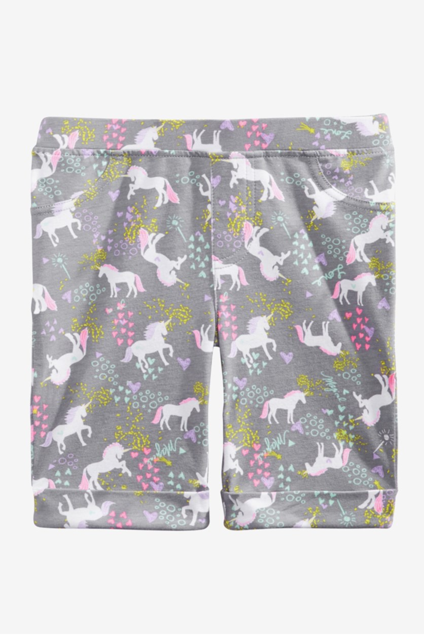 Toddler Girls Unicorn-Print Bermuda Shorts, Grey