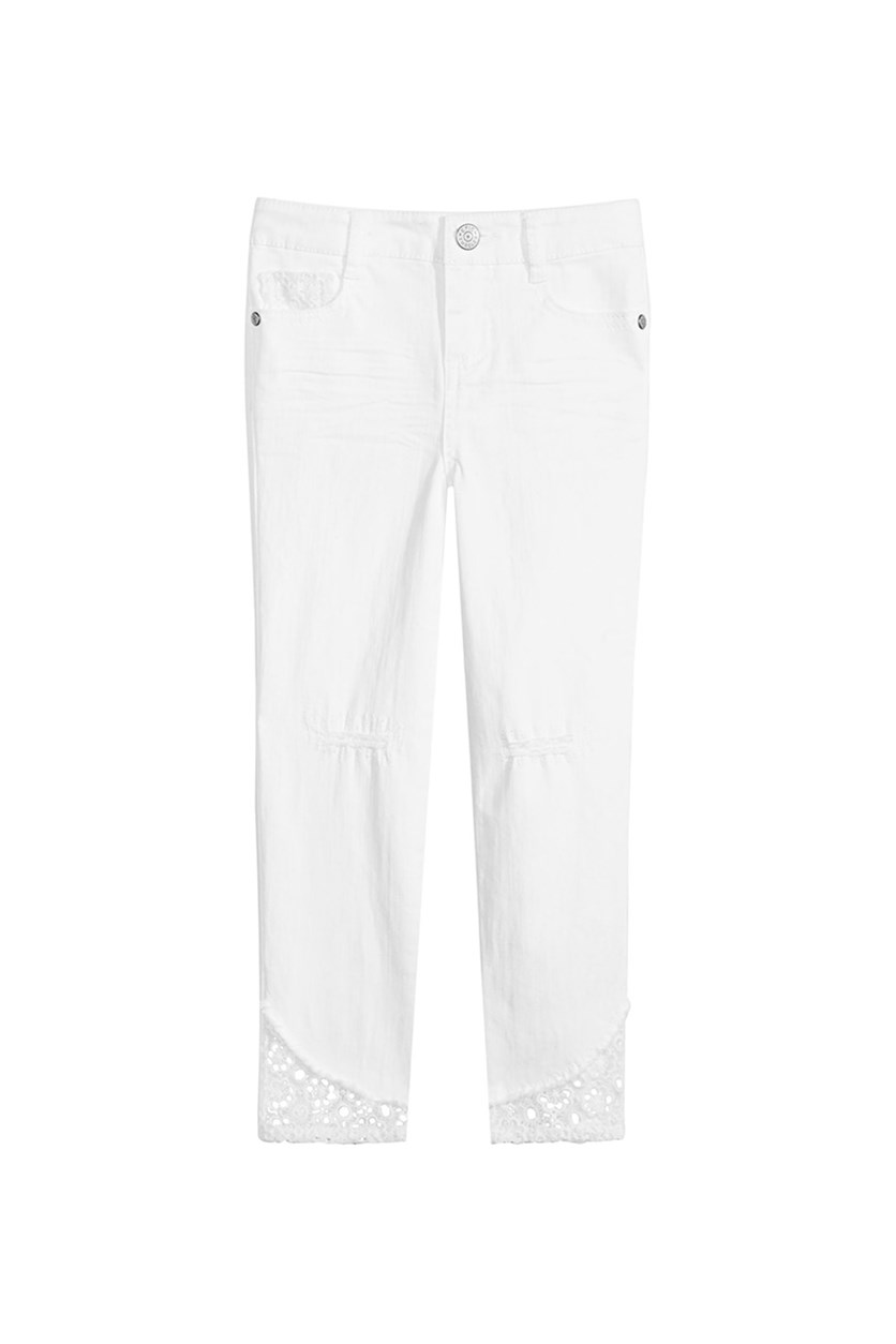 Toddler Girls Distressed Jeans, Bright White