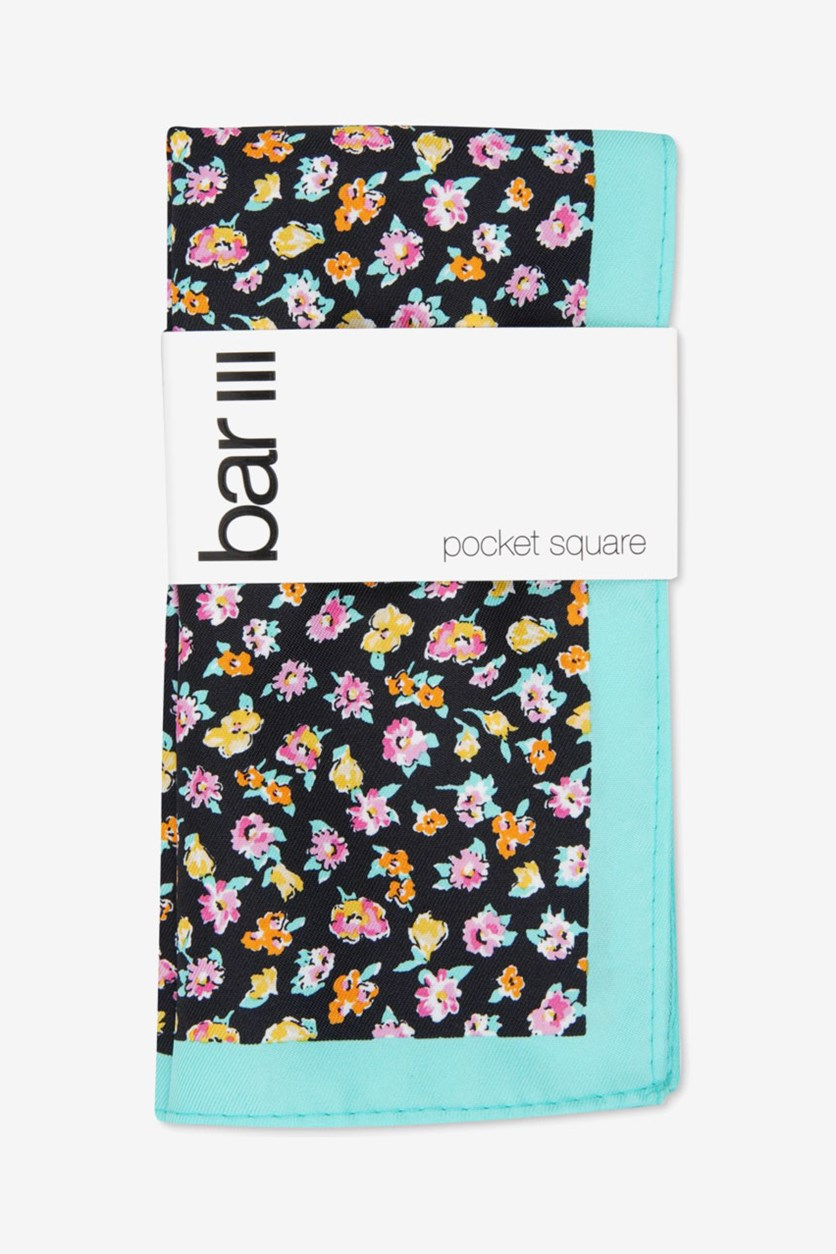 Men's Newbury Floral Pocket Square, Black Floral