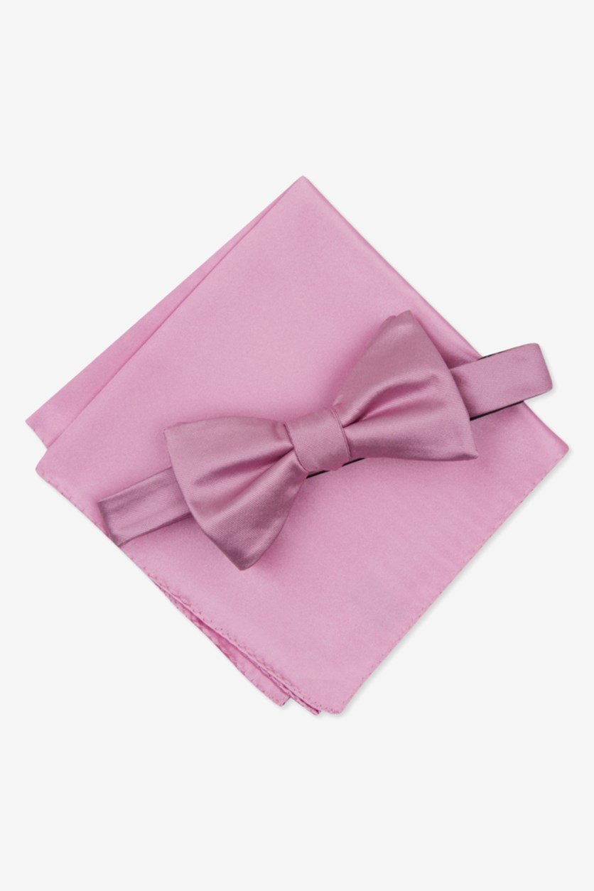 Men's Solid Textured Pre-Tied Bow Tie & Solid Textured Pocket Square Set, Pink
