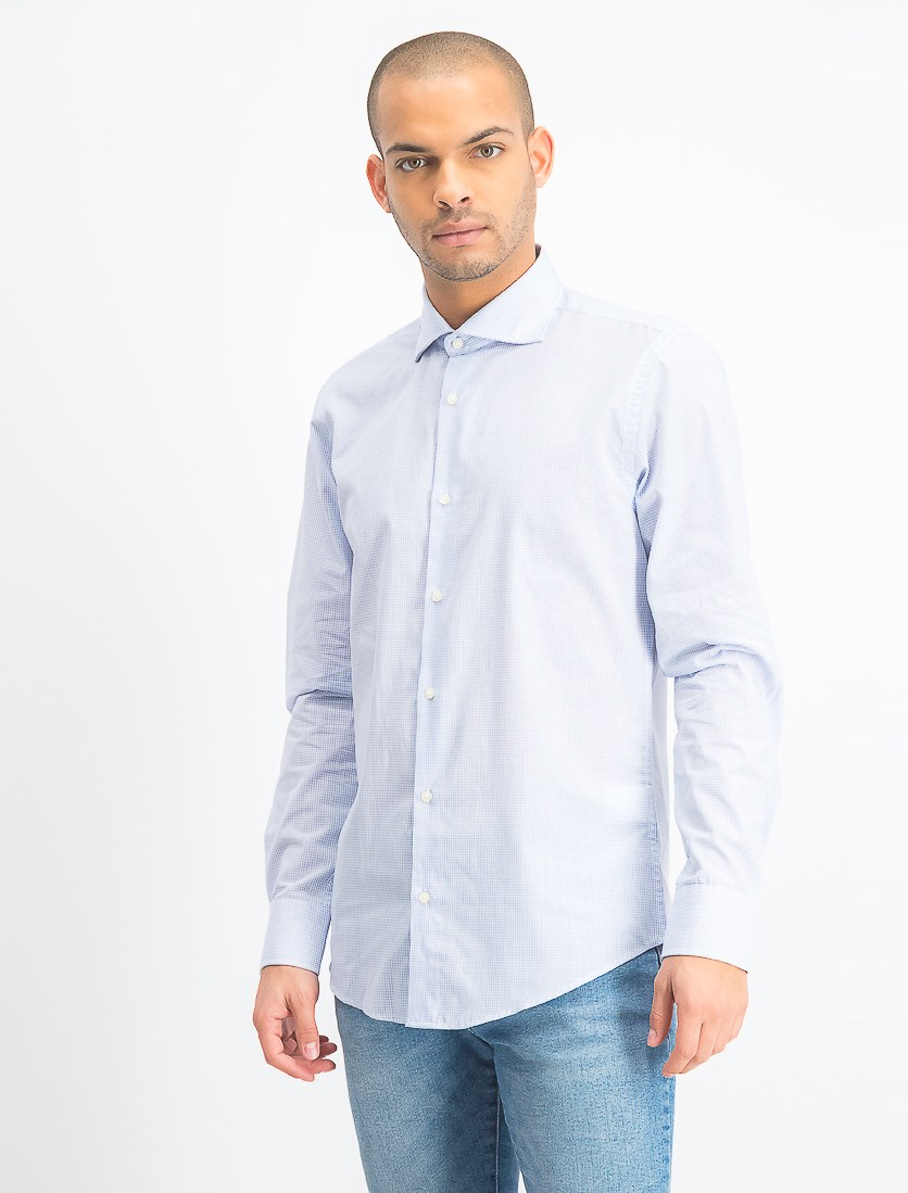 Mens Long Sleeve Dress Shirt, Sky