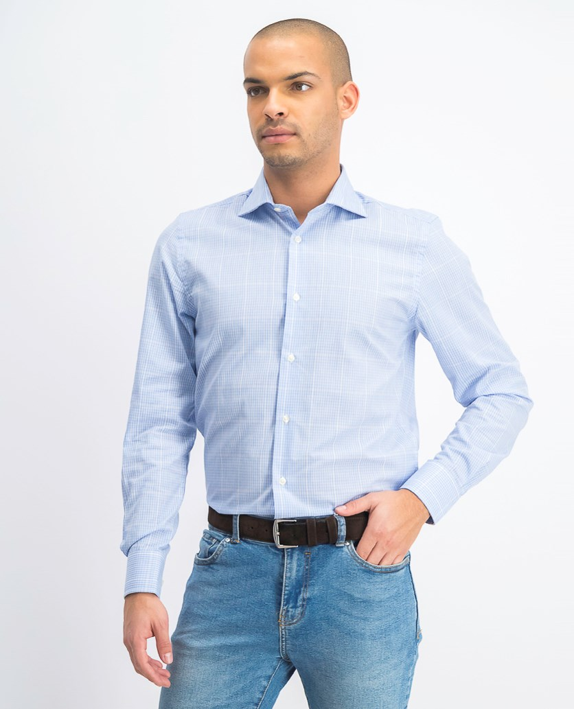 Men's Vertical Stripe Dress Shirt, Sky
