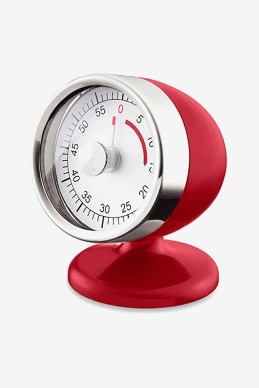 Timer Kitchen Clock, Silver/Red