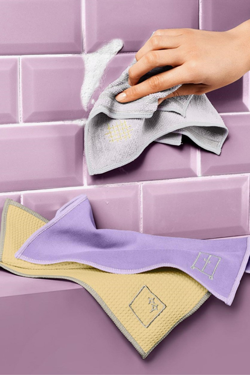 Special 3 Cleaning Cloths, Yellow/Gray/Light Violet