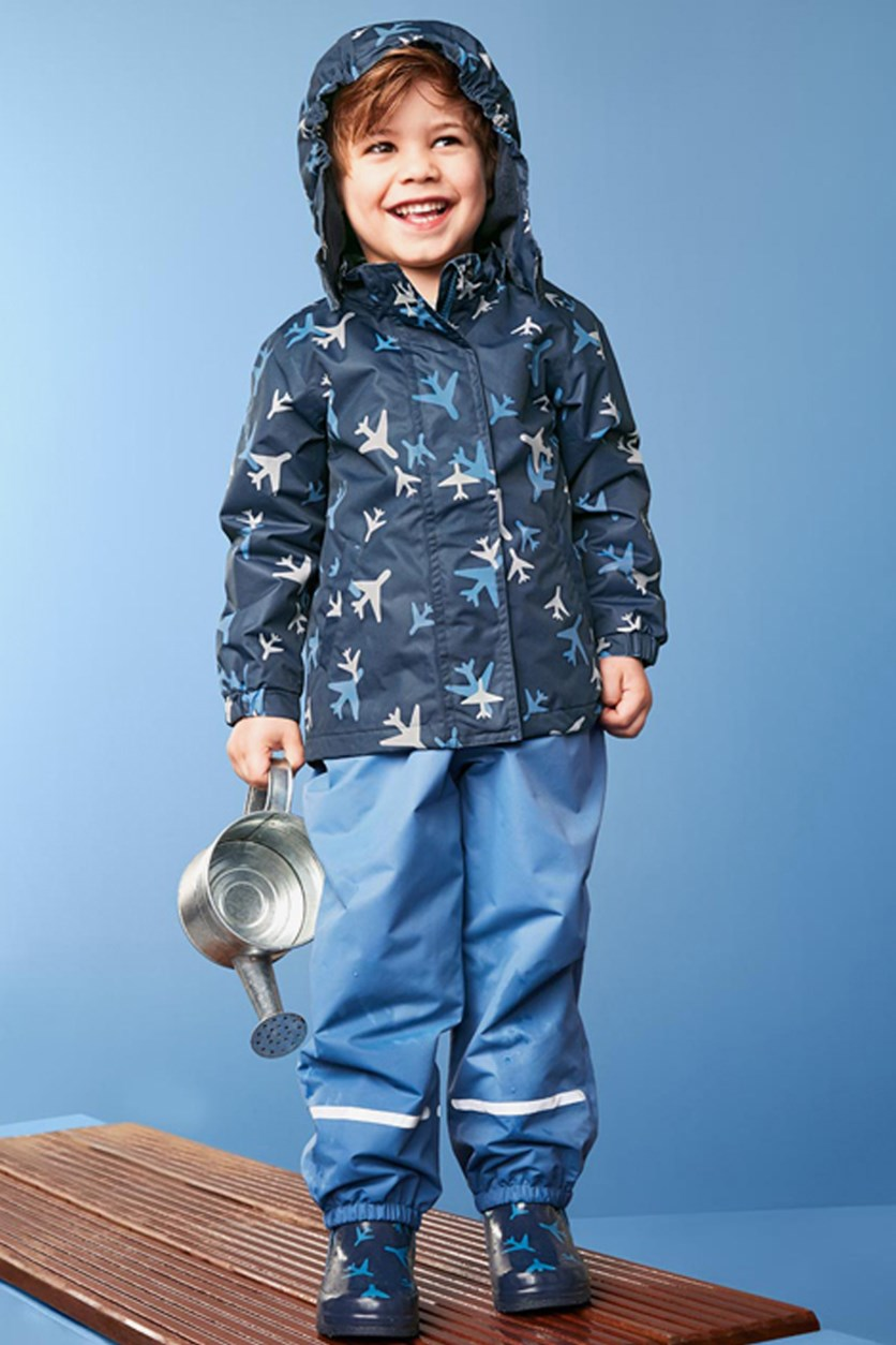 Little Boy Printed Rain Jacket, Navy
