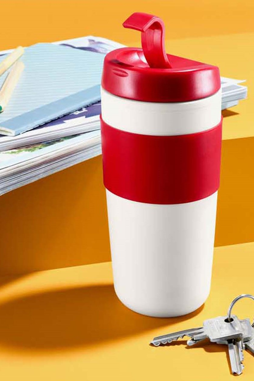 Coffee To Go Mug, White/Red
