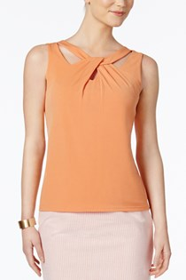 Women's Twist-Neck Cutout Shell Top, Orange
