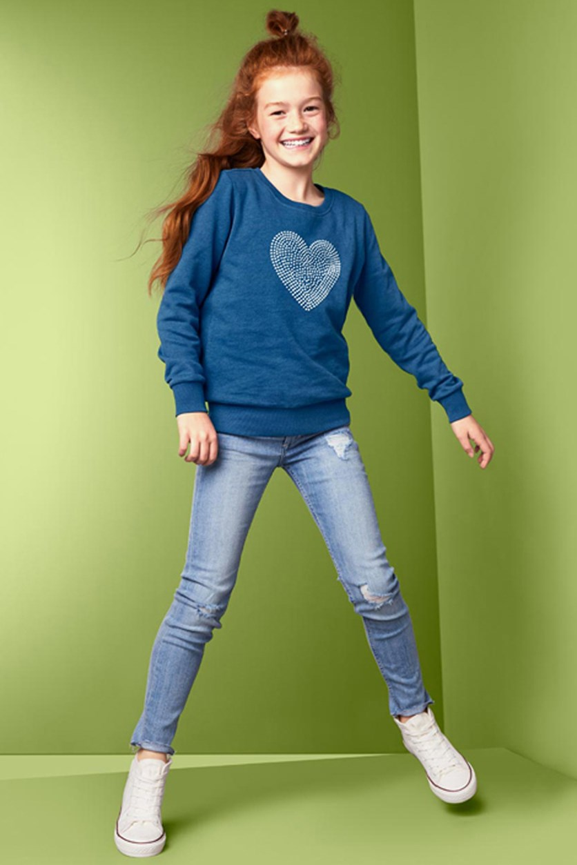Kids Girls Sweatshirt, Medium Blue
