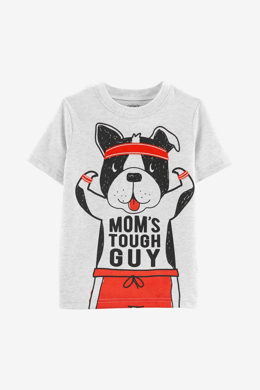 Toddler Boys Tough Guy Graphic Cotton T-Shirt, Light Gray