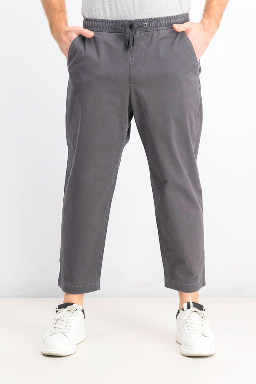 Men's Pull-On Drawstring Chino Pants, Gray