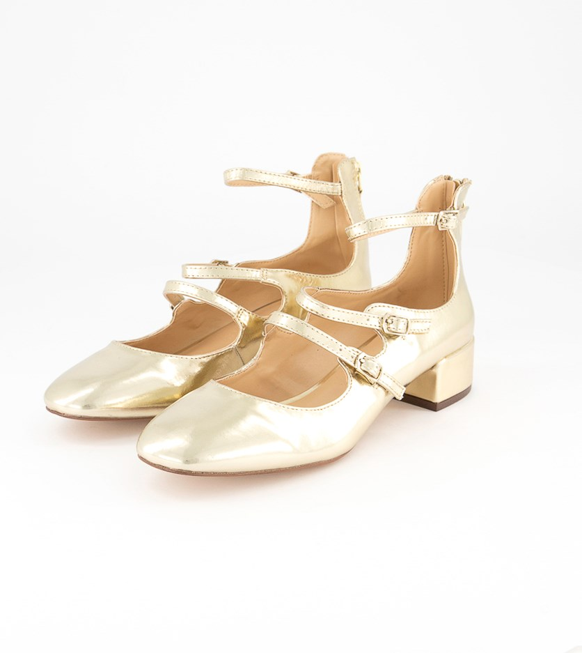 Women's Heeled Ballerina Shoes, Gold