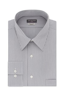 Men's Stripe Dress Shirt, Grey/White