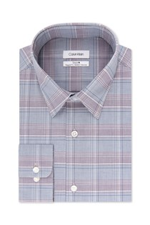 Men's Steel Plaid Dress Shirt, Grey