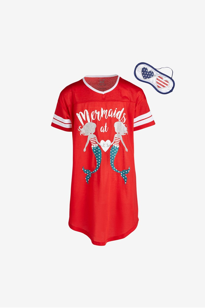 Little & Big Girls Mermaids-Print Nightgown & Eye Shade, Red/Navy