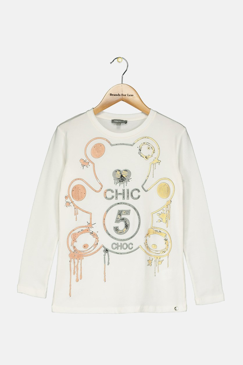 Kid's Girl Graphic Tops, White