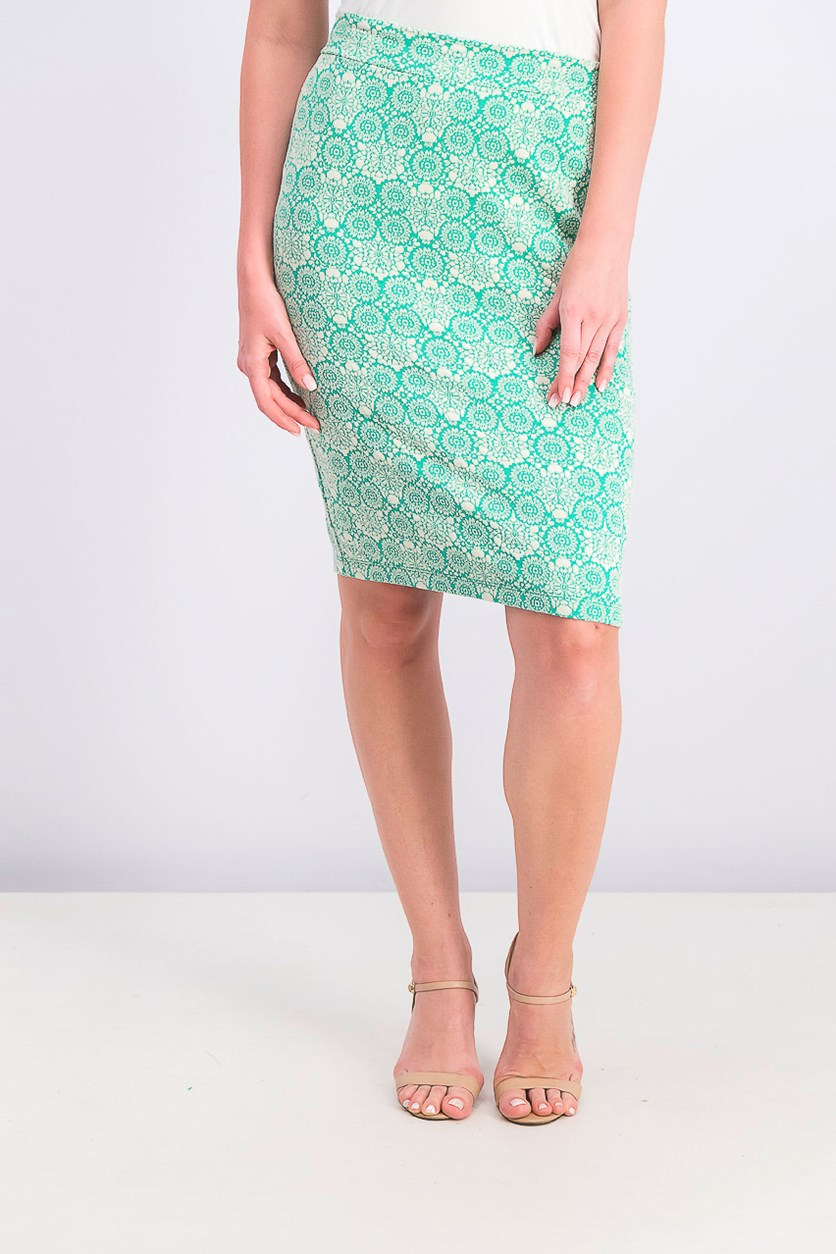 Women's Printed Pencil Skirt, Green