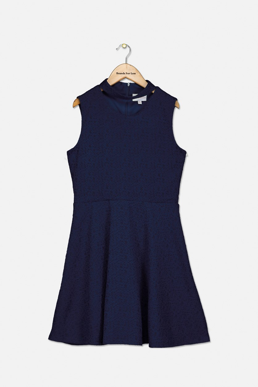 Big Girl's Choker Flared Dress, Navy