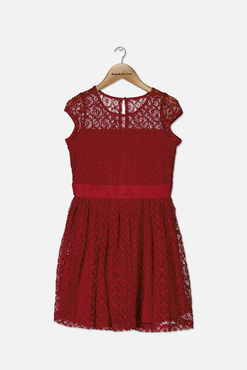 Big Girl's Lace Cap-Sleeve Party Dress, Sangria Red