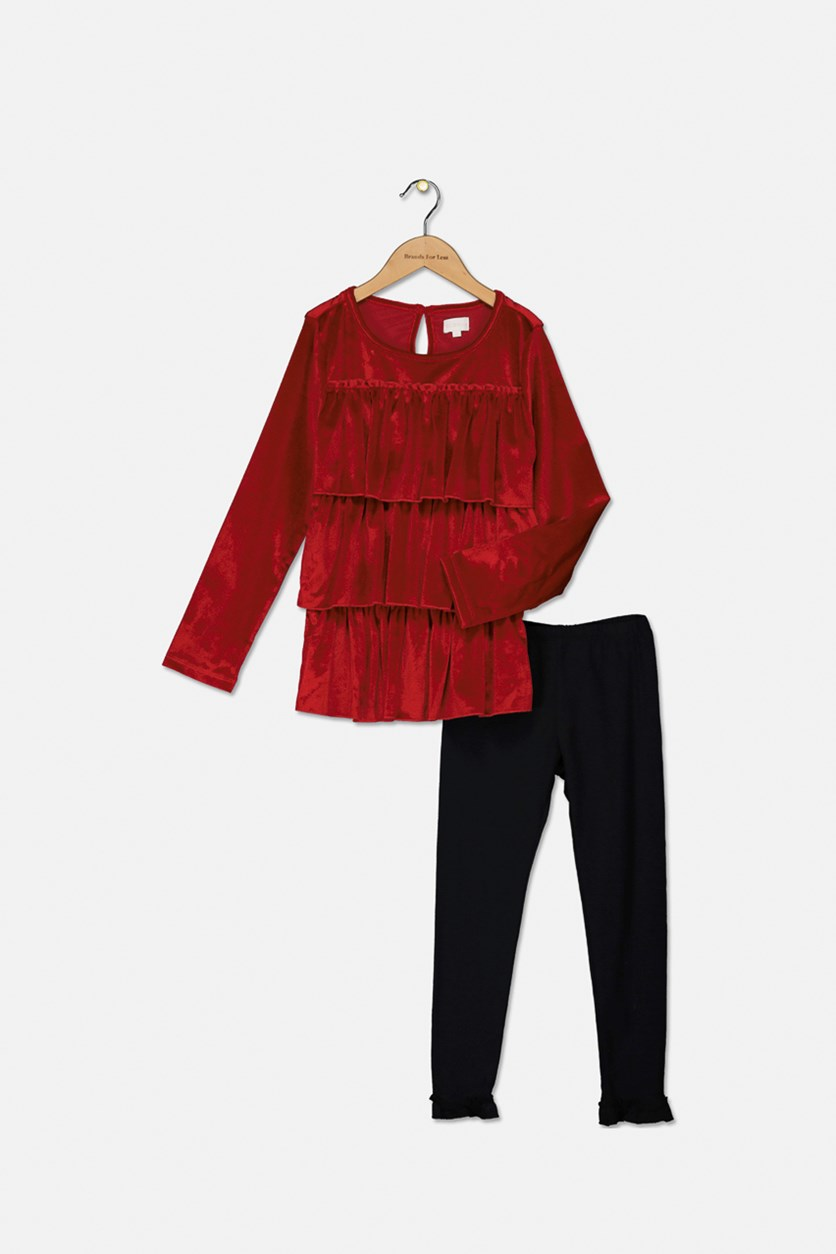 Kid Girls' Ruffled Pullover Velvet Set, Red/Black