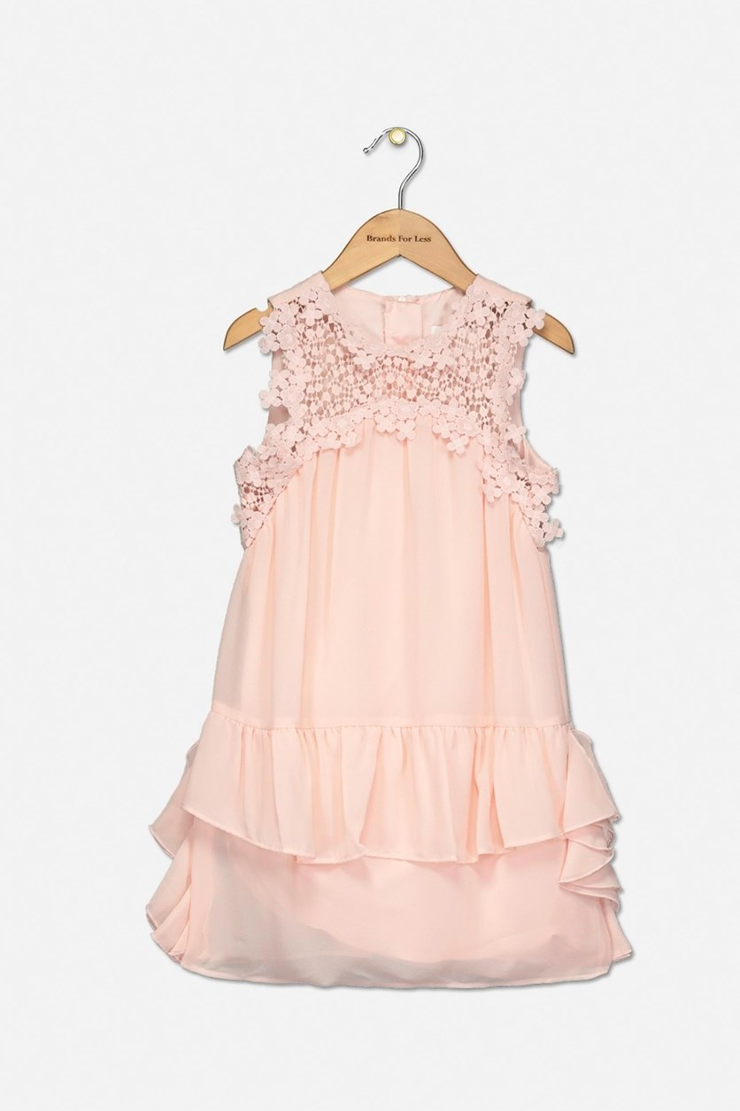 Toddler Girl's Embroidered Chiffon Ruffle Dress, Rose Petal