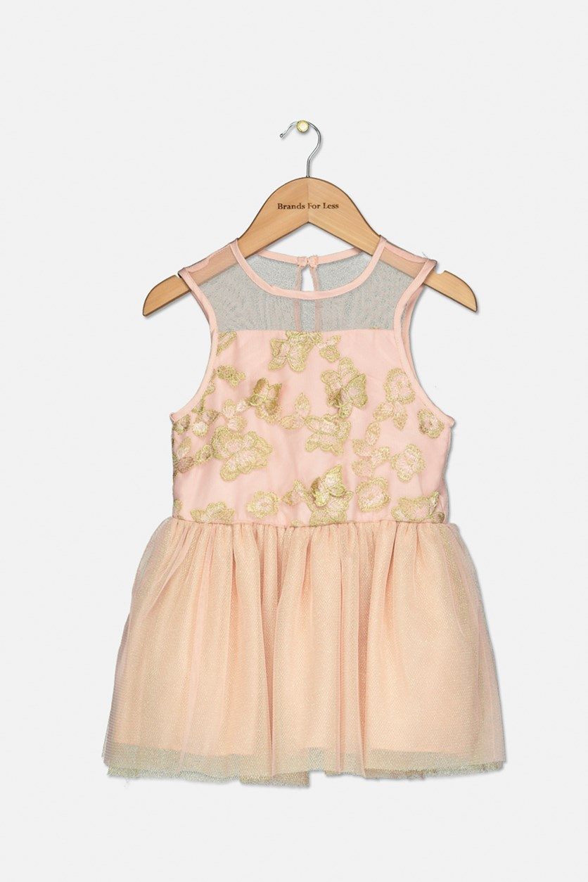 Toddler Girls Embroidered Butterfly Metallic Party Dress, Rose Petal