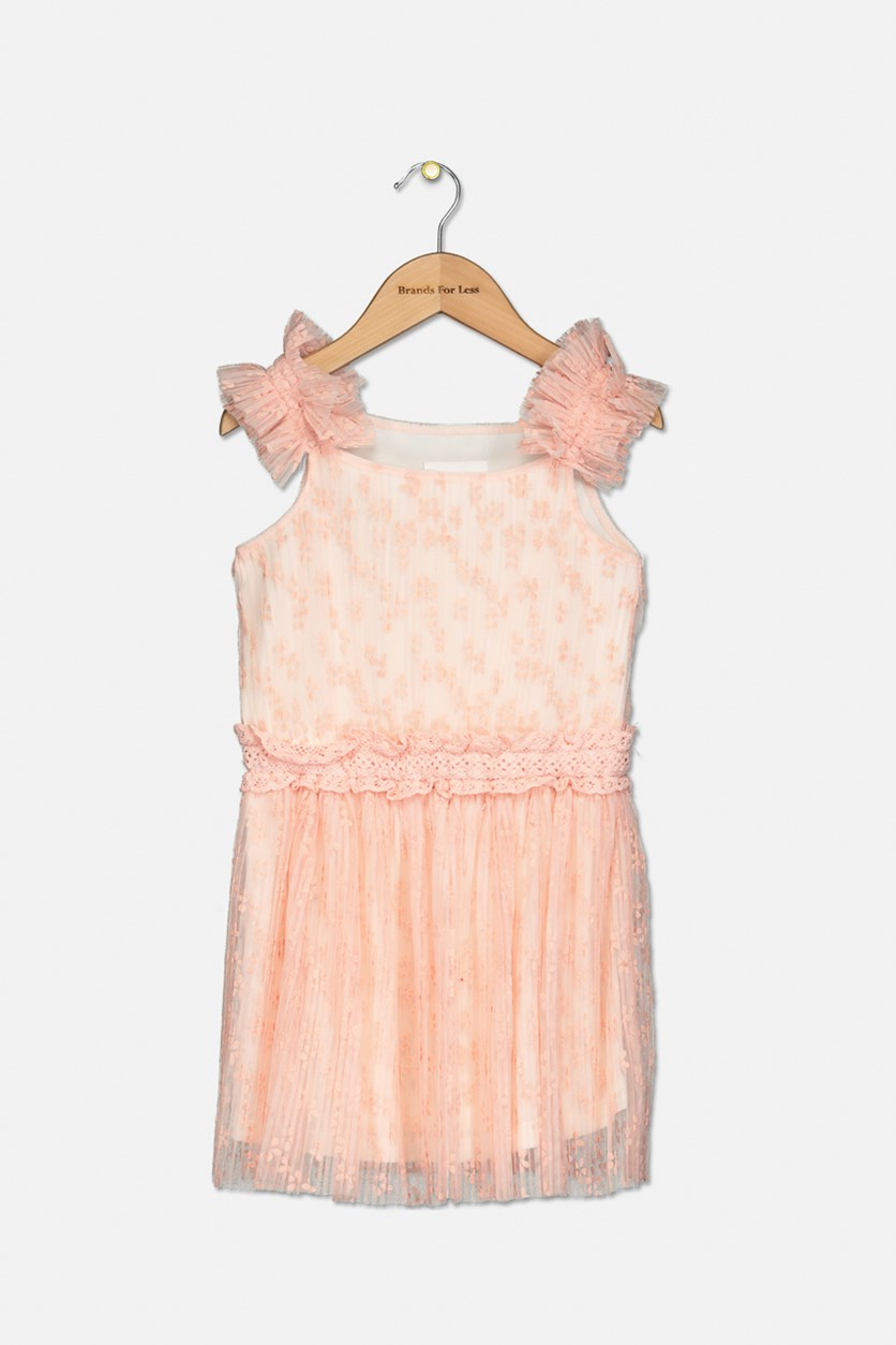 Toddler Girl's Textured Dress, Rose Petal
