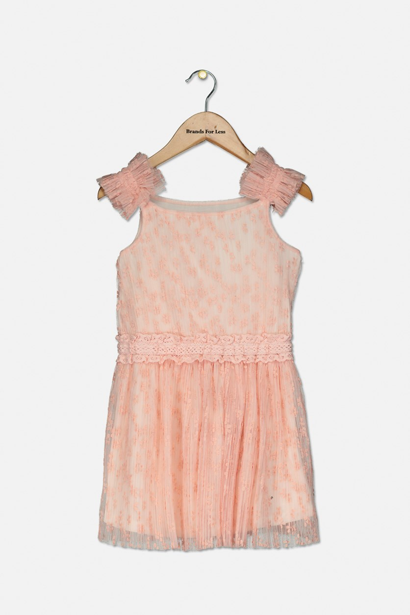 Girl's Textured Dress, Rose Petal