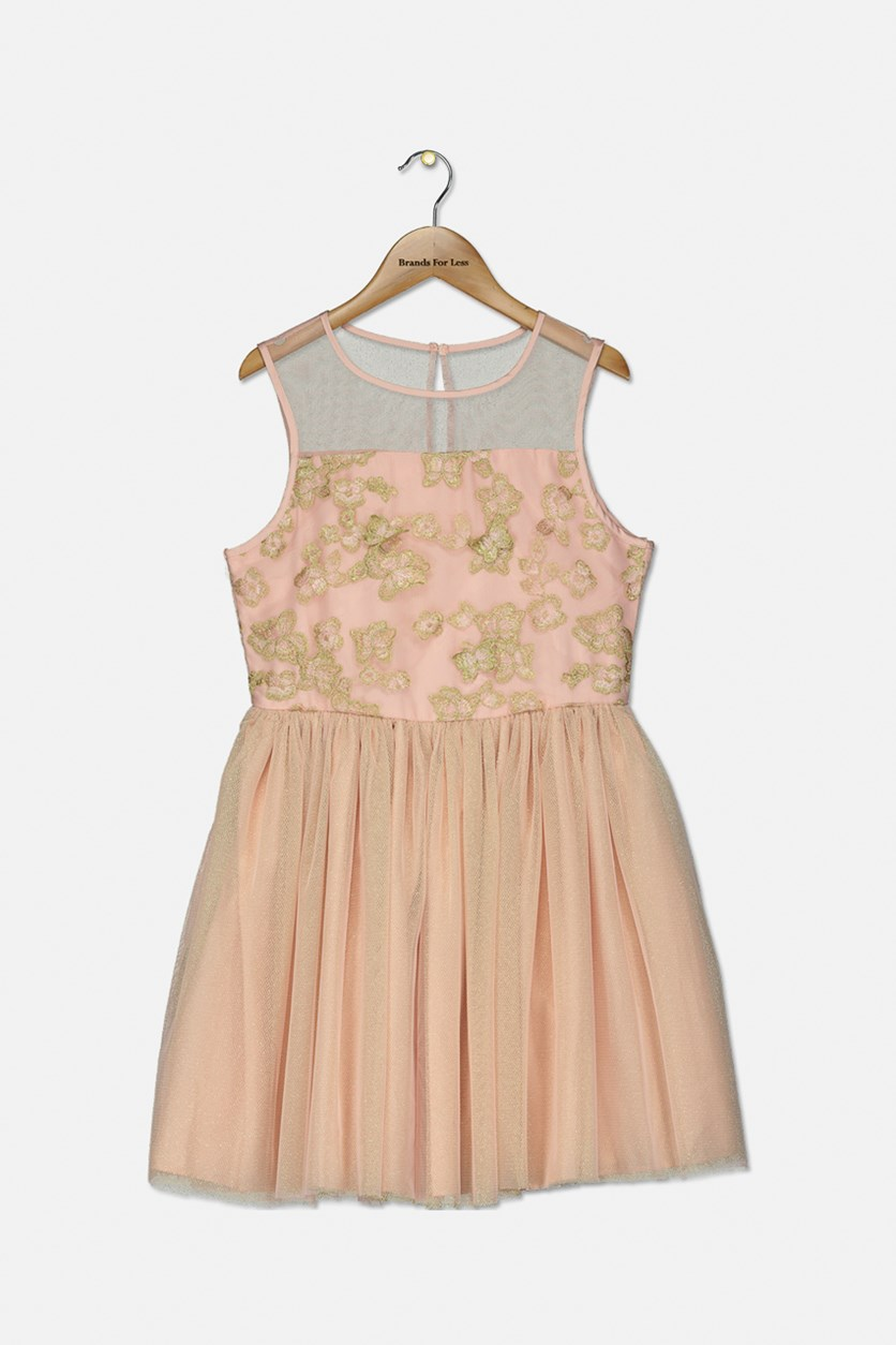 Big Girls Metallic Floral Embroidered Dress, Rose Petal