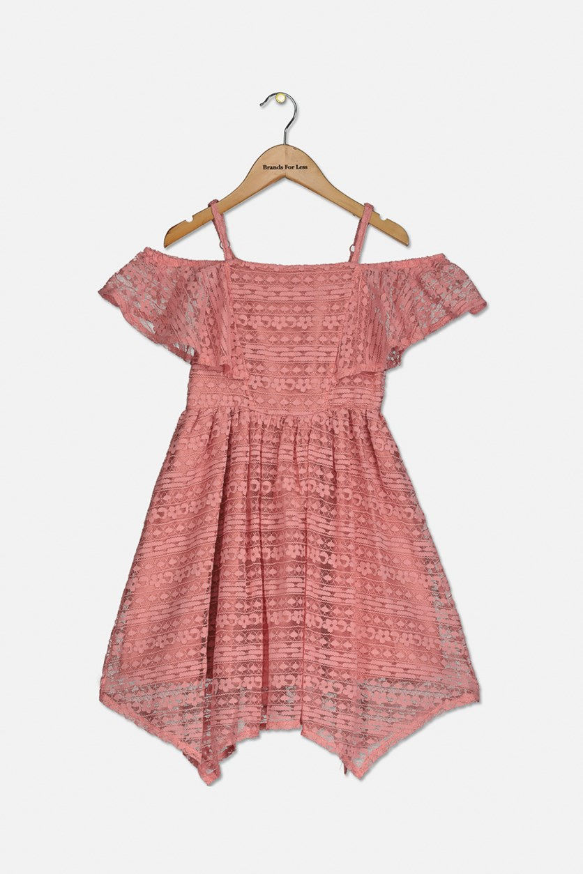 Big Girl's Lace Handkerchief Hem Dress, Coral Rose