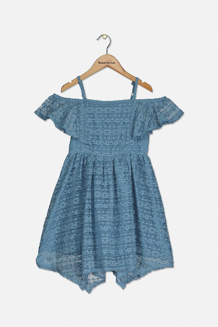 Big Girls Handkerchief Hem Dress, Ash Blue