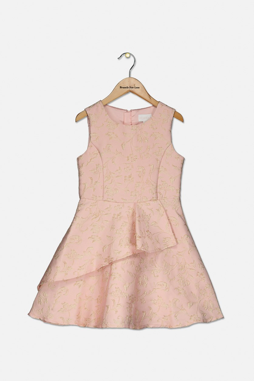 Big Girls Metallic Jacquard Dress, Soft Pink
