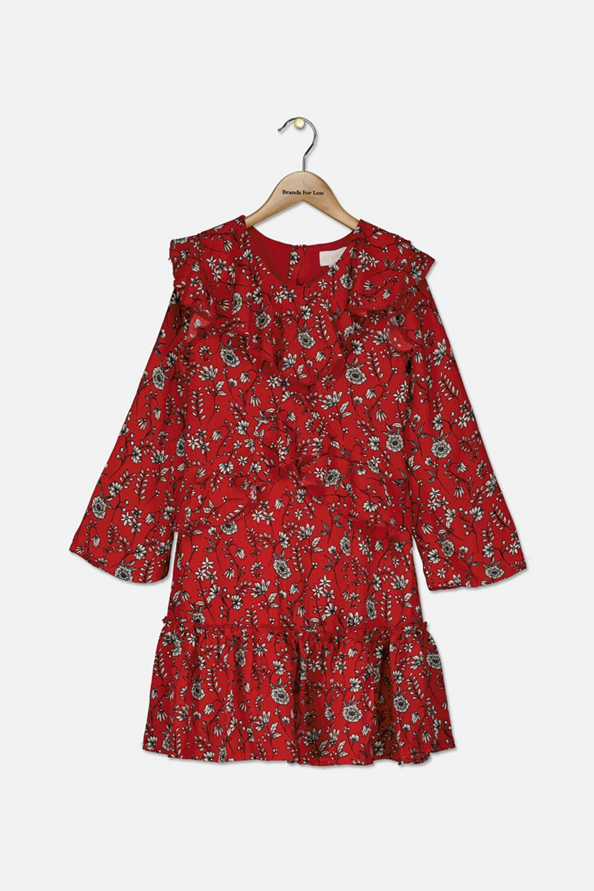 Big Girl's Floral Crepe Ruffle Dress, Bright Red