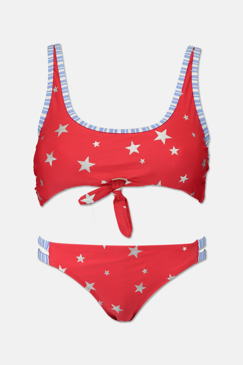 Juniors Americana Keyhole Bikini Set, Red/Blue