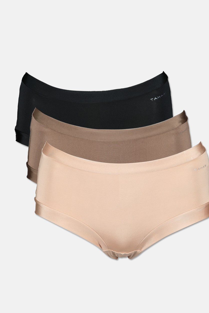 Women's 3 Packs Panties, Brown/Nude/Black