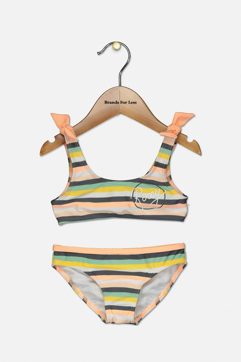 Toddler Girl's Let's Go Surfing Two-Piece Swimsuit, Orange Combo