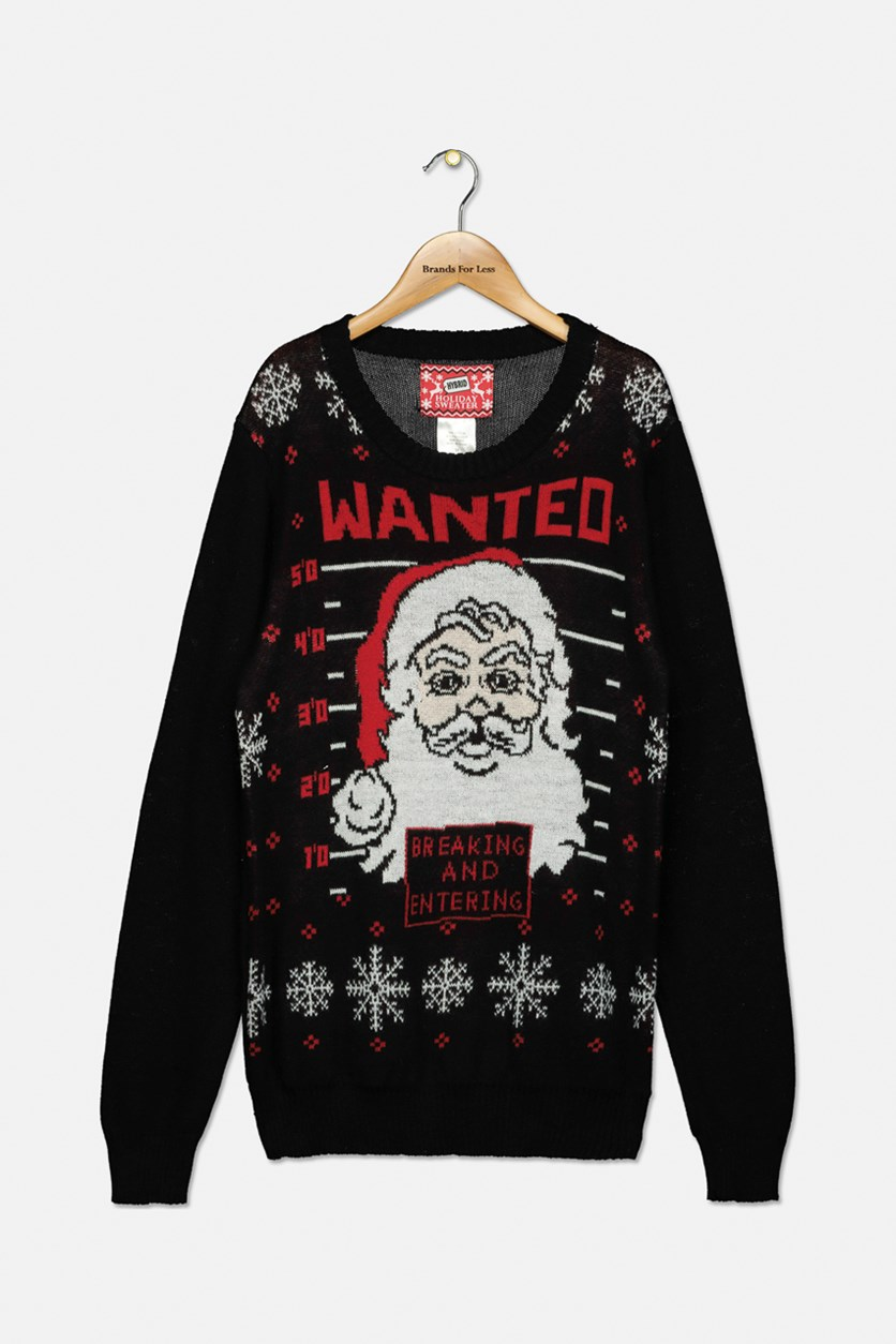 Boys Wanted Santa Holiday Sweater, Black Combo
