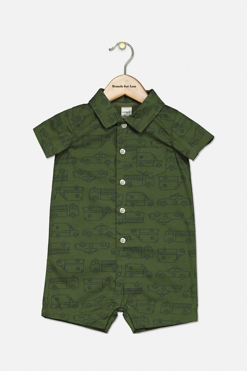 Baby Boys Rescue Vehicle-Print Cotton Romper, Green