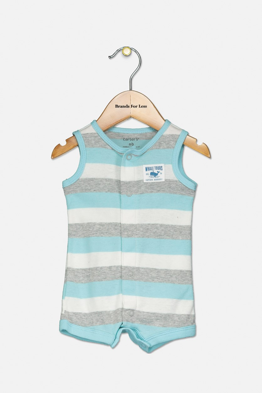Baby Boys Striped Cotton Romper, Turquoise/Grey