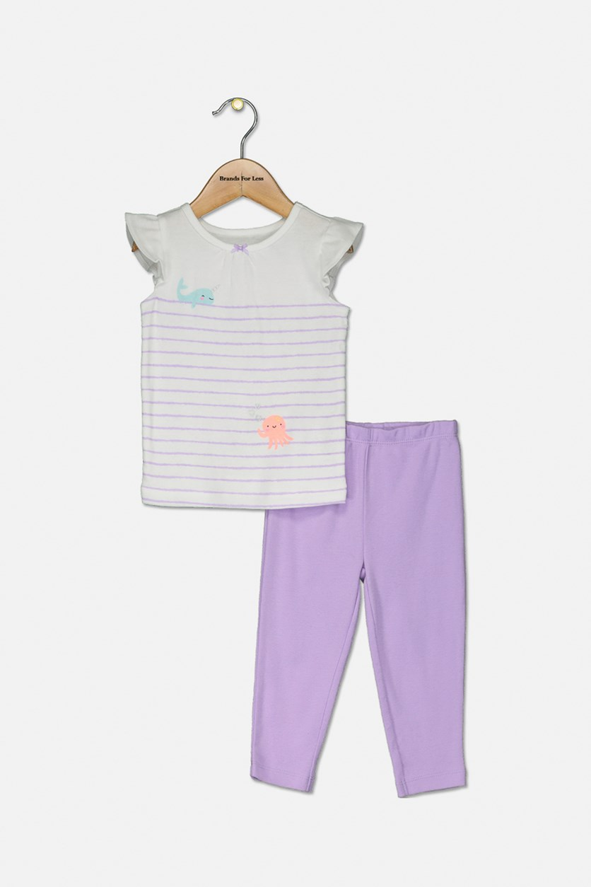 Baby Girls 3 Piece Cotton Bodysuit, T-Shirt & Pants Set, White/Lavender