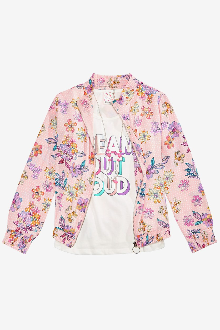 Big Girls 3-Pc. Floral-Print Bomber Jacket W/ Tank Top And Necklace, Napoli Pink