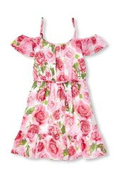 Girl's Woven Floral Off Shoulder Dress, Pink